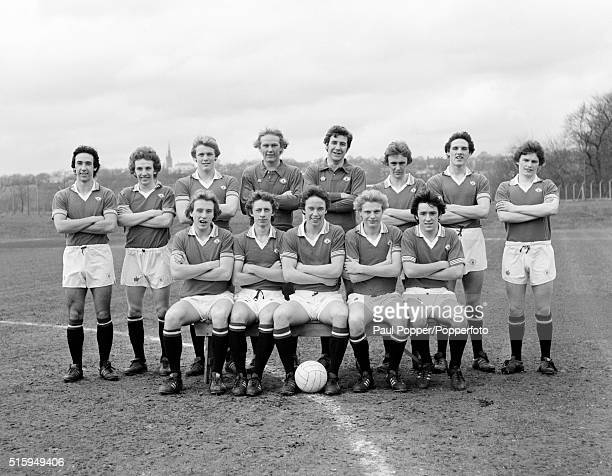Manchester United youth team captained by Mike Duxbury and also featuring goalkeeper Gary Bailey at the Cliff training ground in Manchester circa 1976