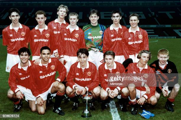 Manchester United youth team pose with the Lancashire Youth Cup following their victory over Blackburn Back row left to right are Chris Casper Nicky...