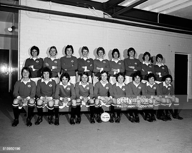 Manchester United youth team squad at Old Trafford in Manchester circa March 1975 Identified is Arthur Albiston front row 3rd from right