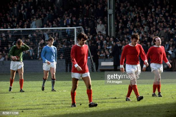 Manchester United's Alex Stepney George Best Pat Crerand and Nobby Stiles and Manchester City's Mike Doyle leave the pitch at halftime