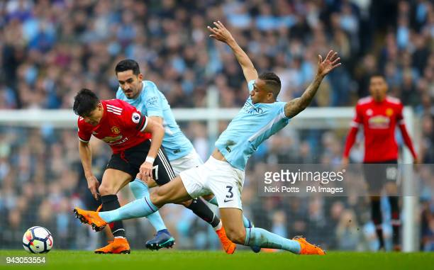 Manchester United's Alexis Sanchez and Manchester City's Danilo battle for the ball during the Premier League match at the Etihad Stadium Manchester