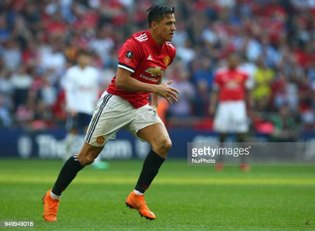 Manchester United's Alexis Sanchez during the FA Cup semifinal match between Tottenham Hotspur and Manchester United at Wembley London England on 21...