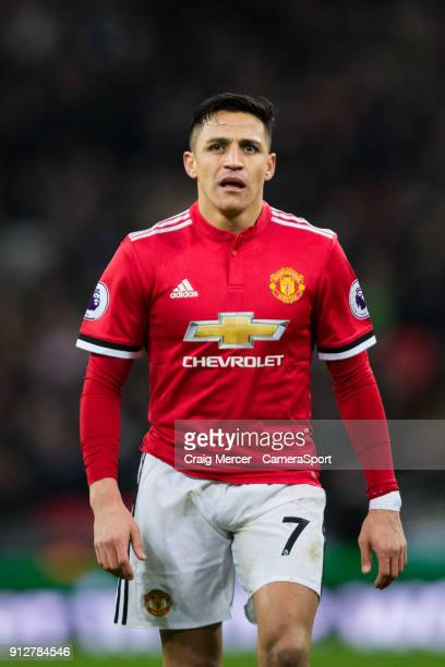 Manchester United's Alexis Sanchez during the Premier League match between Tottenham Hotspur and Manchester United at Wembley Stadium on January 31...