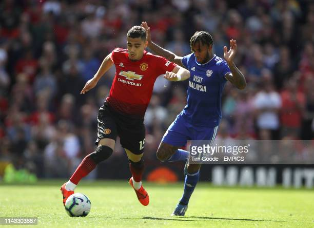 Manchester United's Andreas Pereira and Cardiff City's Leandro Bacuna battle for the ball Manchester United v Cardiff City Premier League Old Trafford