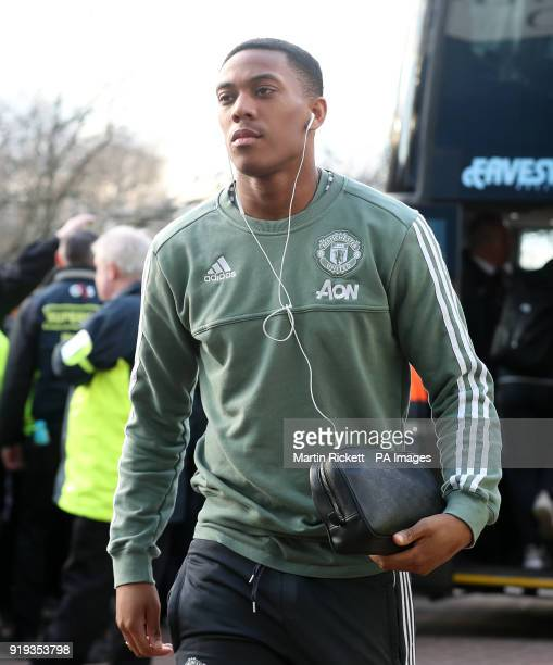 Manchester United's Anthony Martial arriving before the Emirates FA Cup Fifth Round match at The John Smith's Stadium Huddersfield