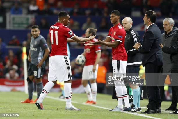 Manchester United's Anthony Martial is substituted off the pitch for Marcus Rashford during the UEFA Champions League Group A match at Old Trafford...