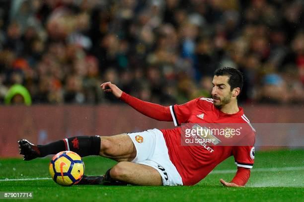Manchester United's Armenian midfielder Henrikh Mkhitaryan controls the ball during the English Premier League football match between Manchester...