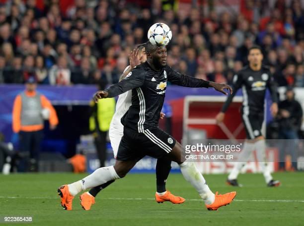 Manchester United's Belgian forward Romelu Lukaku controls the ball during the UEFA Champions League round of 16 first leg football match Sevilla FC...