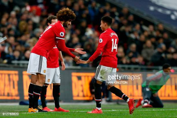 Manchester United's Belgian midfielder Marouane Fellaini comes onto the pitch as a substitute during the English Premier League football match...