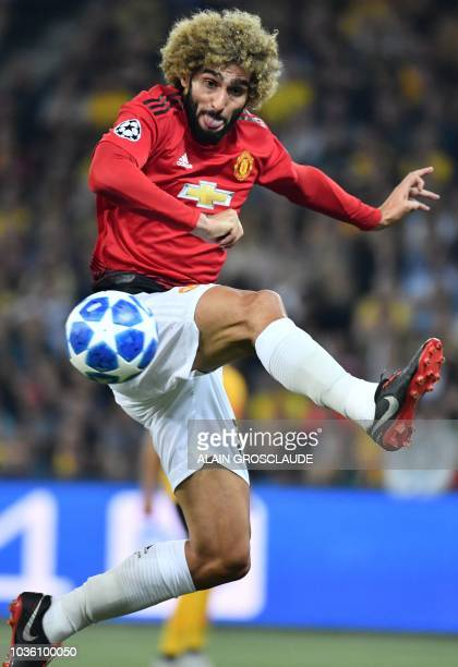 Manchester United's Belgian midfielder Marouane Fellaini controls the ball during the UEFA Champions League group H football match between Young Boys...