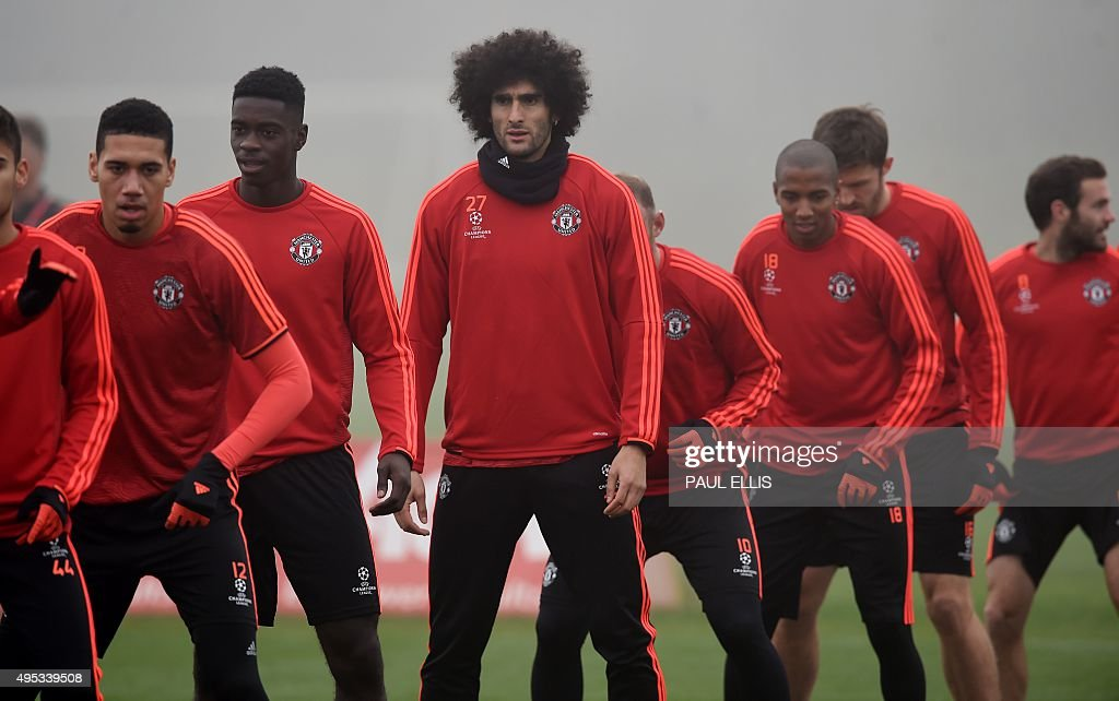 Manchester United's Belgian midfielder Marouane Fellaini (C) takes part in a training session in Manchester, north west England, on November 2, 2015 ahead of their UEFA Champions League group B football match against CSKA Moscow on November 3.