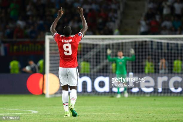 TOPSHOT Manchester United's Belgian striker Romelu Lukaku celebrates after scoring a goal during the UEFA Super Cup football match between Real...
