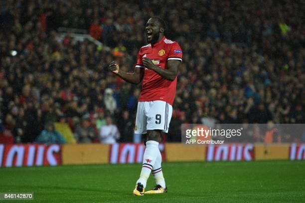 Manchester United's Belgian striker Romelu Lukaku celebrates scoring his team's second goal during the UEFA Champions League Group A football match...