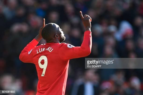 Manchester United's Belgian striker Romelu Lukaku celebrates scoring their first goal to equalise 11 during the English Premier League football match...