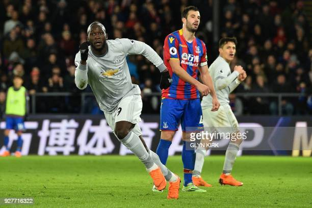 Manchester United's Belgian striker Romelu Lukaku celebrates scoring his team's second goal during the English Premier League football match between...