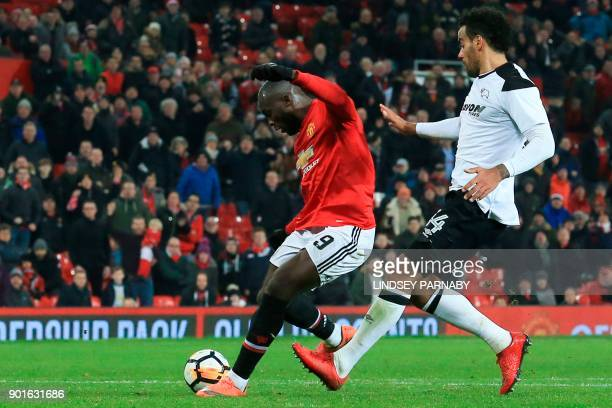 Manchester United's Belgian striker Romelu Lukaku scores their second goal during the English FA Cup third round football match between Manchester...