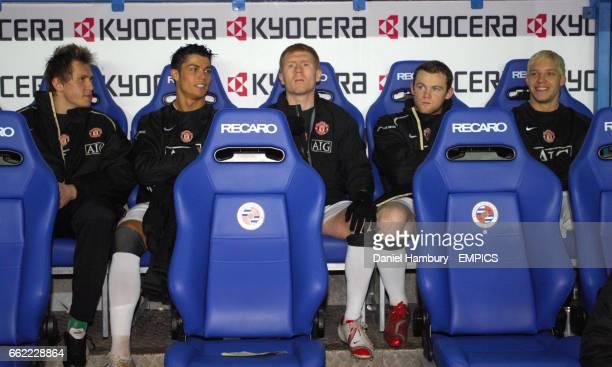 Manchester United's bench LR Tomasz Kuszczak Cristiano Ronaldo Paul Scholes Wayne Rooney and Alan Smith