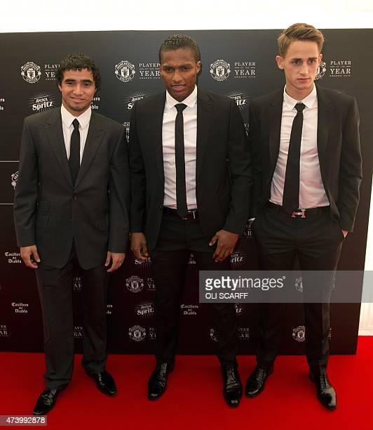 Manchester United's Brazilian defender Rafael Manchester United's Ecuadorian midfielder Antonio Valencia and Manchester United's Belgian midfielder...
