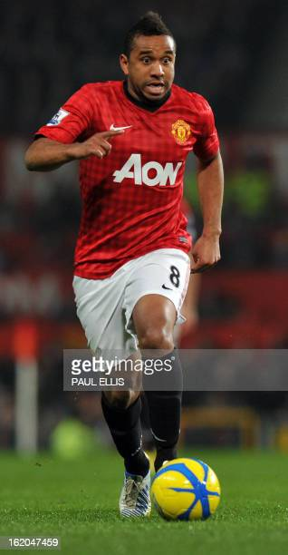 Manchester United's Brazilian midfielder Anderson runs with the ball during the English FA Cup fifth round football match between Manchester United...