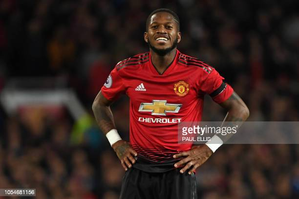 Manchester United's Brazilian midfielder Fred reacts after missing a chance during the English Premier League football match between Manchester...