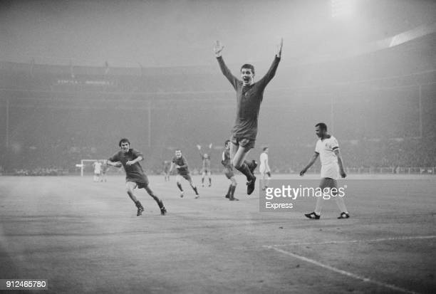 Manchester United's Brian Kidd celebrates after scoring the 3rd goal with a header on his 19th birthday at the European Cup Final at Wembley against...