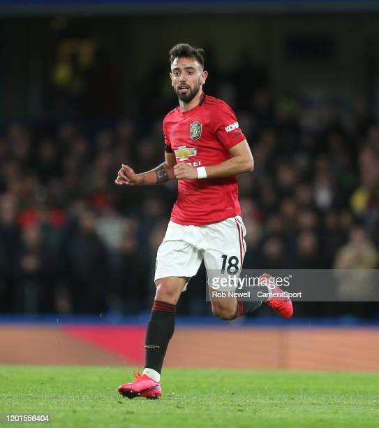 Manchester United's Bruno Fernandes during the Premier League match between Chelsea FC and Manchester United at Stamford Bridge on February 17 2020...