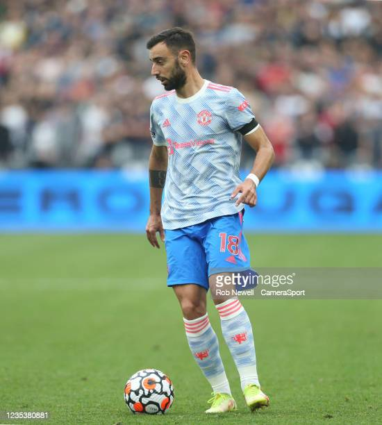 Manchester United's Bruno Fernandes during the Premier League match between West Ham United and Manchester United at London Stadium on September 19,...