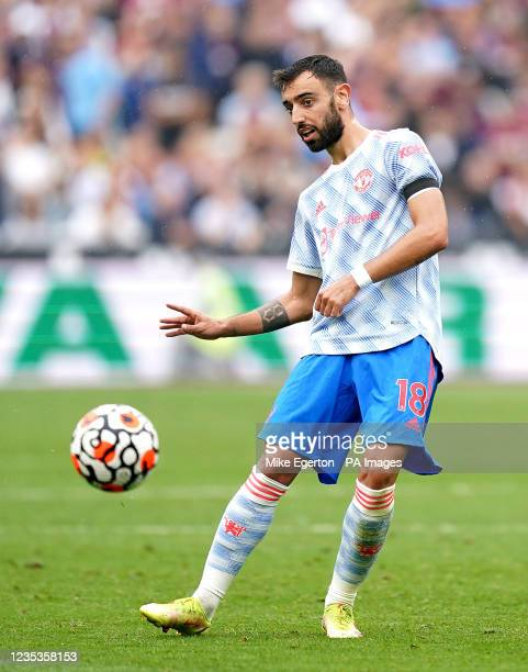Manchester United's Bruno Fernandes in action during the Premier League match at the London Stadium, London. Picture date: Sunday September 19, 2021.