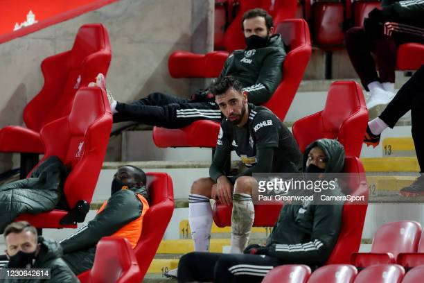 Manchester United's Bruno Fernandes on the bench after being substituted during the Premier League match between Liverpool and Manchester United at...