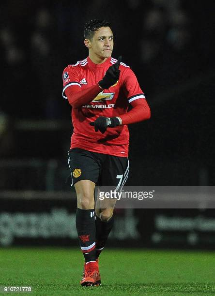 Manchester United's Chilean striker Alexis Sanchez gestures during the FA Cup fourth round football match between Yeovil Town and Manchester United...