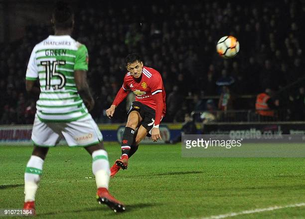 Manchester United's Chilean striker Alexis Sanchez hits a freekick at goal during the FA Cup fourth round football match between Yeovil Town and...