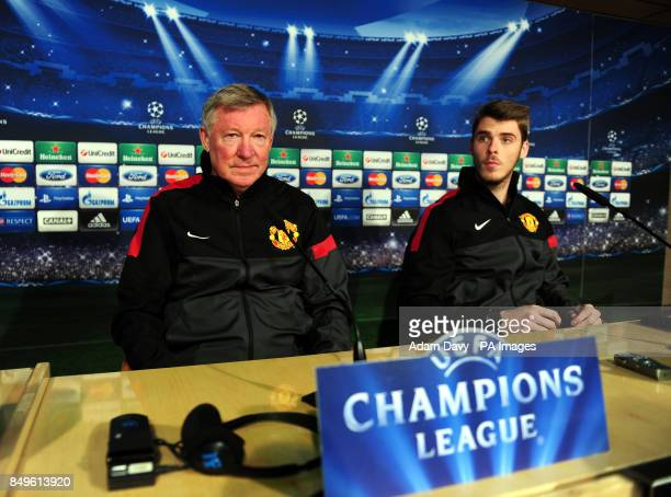 Manchester United's coach Alex Ferguson and David De Gea chat to the press during the press conference at Santiago Bernabeu Madrid Spain