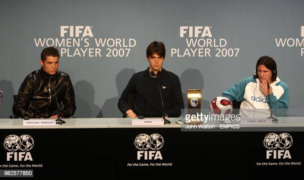 Manchester United's Cristiano Ronaldo AC Milan's Kaka and Barcelona's Lionel Messi at the FIFA World Player Gala