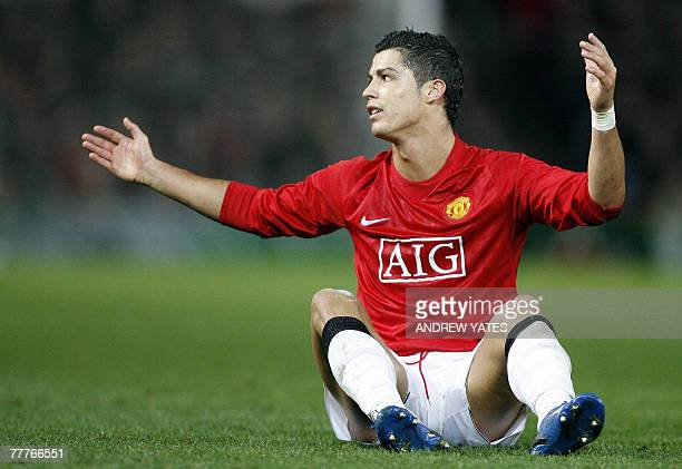 Manchester United's Cristiano Ronaldo appeals to the referee during their UEFA Champions League football match against Dynamo Kiev at Old Trafford...