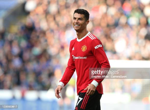 Manchester United's Cristiano Ronaldo during the Premier League match between Leicester City and Manchester United at The King Power Stadium on...