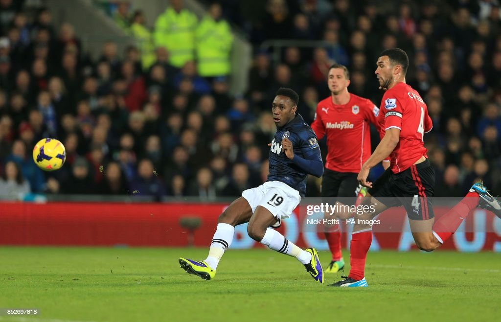 Manchester United's Danny Welbeck has a shot on target ahead