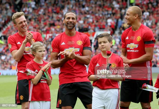 Manchester United's Darren Fletcher Rio Ferdinand and Wes Brown have a joke before Michael Carrick's Testimonial match at Old Trafford Manchester