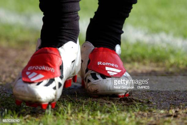 Manchester United's David Beckham in his new Adidas 'Lunar' Predator boots