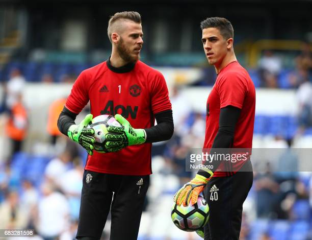 LR Manchester United's David De Gea and Joel Castro Pereira during the prematch warmup during Premier League match between Tottenham Hotspur and...