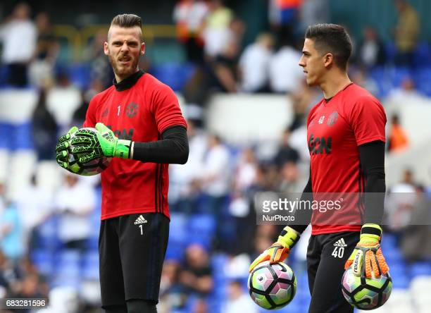 LR Manchester United's David De Gea andJoel Castro Pereira during the prematch warmup during Premier League match between Tottenham Hotspur and...