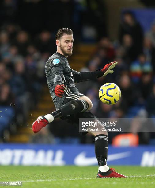 Manchester United's David De Gea during the Premier League match between Chelsea FC and Manchester United at Stamford Bridge on February 17 2020 in...