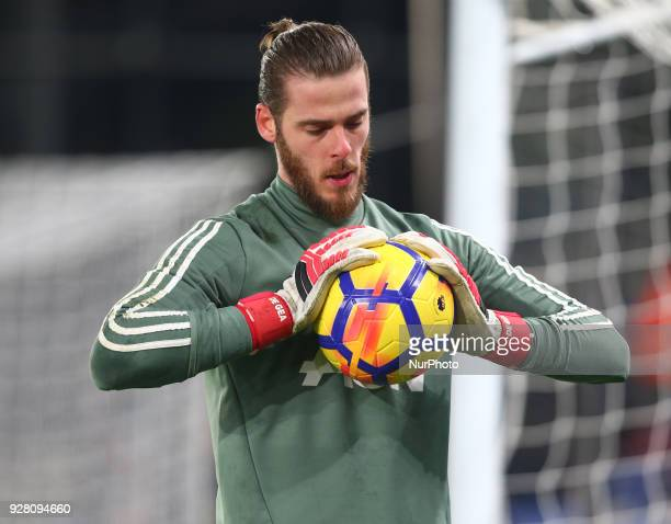 Manchester United's David De Gea during the Premiership League match between Crystal Palace and Manchester United at Selhurst Park Stadium in London...