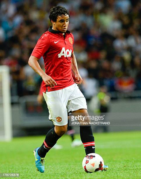 Manchester United's defender Rafael Da Silva controls the ball during a friendly football match between AIK and Manchester United on August 6 2013 at...