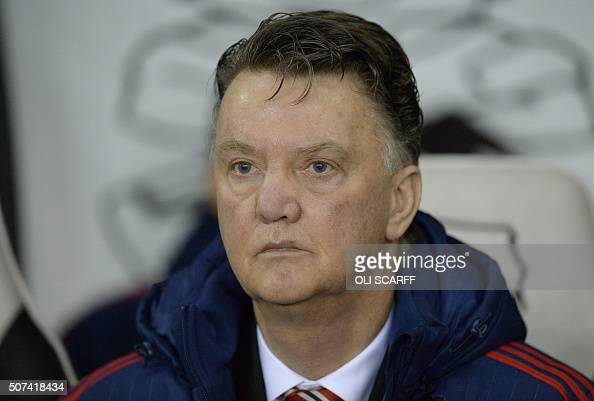 Manchester United's Dutch Manager Louis Van Gaal Watches