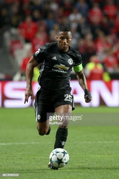 Manchester United's Ecuadorian defender Antonio Valencia in action during the UEFA Champions League football match SL Benfica vs Manchester United at...