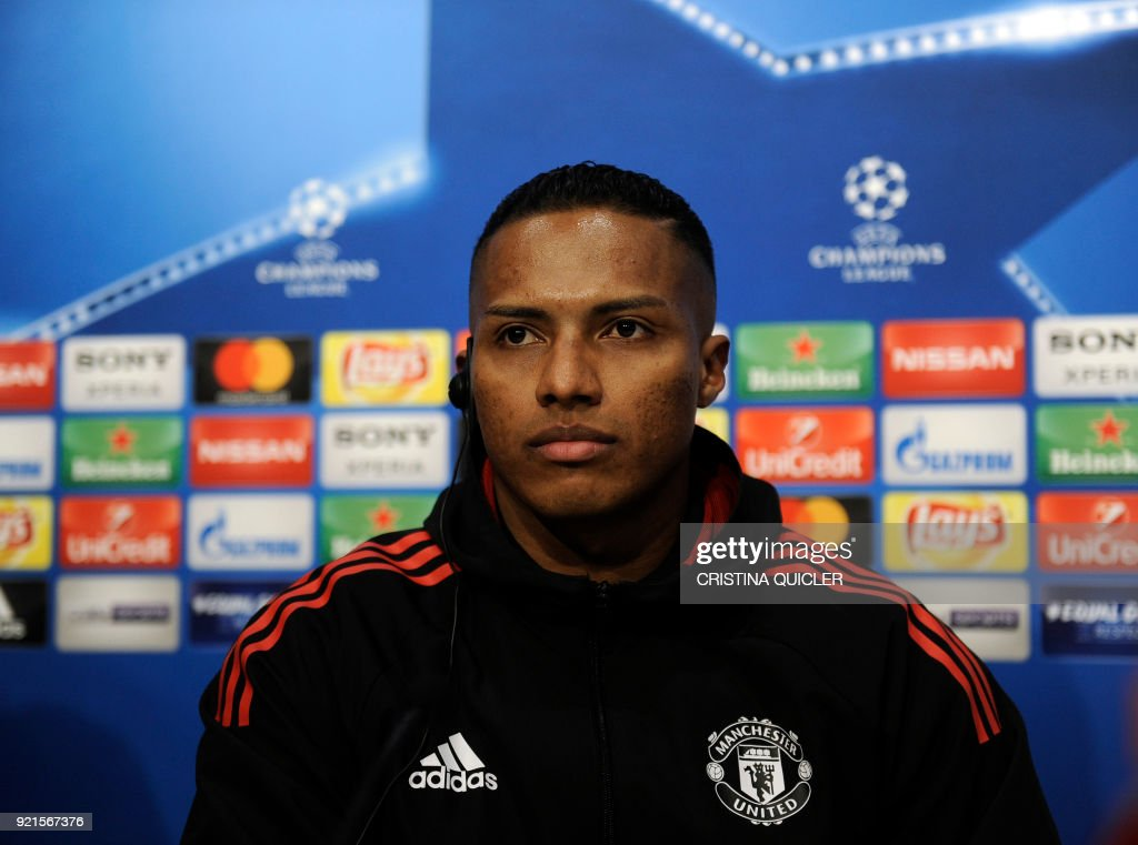 Manchester United's Ecuadorian midfielder Antonio Valencia attends a press conference at the Ramon Sanchez Pizjuan stadium in Sevilla on the eve of the UEFA Champions League football match between Sevilla and Manchester United on February 20, 2018. / AFP PHOTO / Cristina Quicler