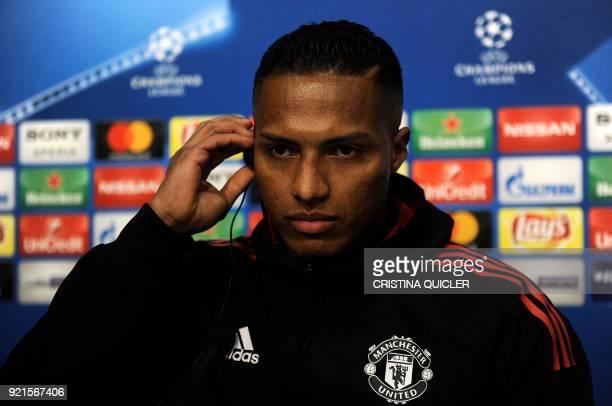 Manchester United's Ecuadorian midfielder Antonio Valencia attends a press conference at the Ramon Sanchez Pizjuan stadium in Sevilla on the eve of...