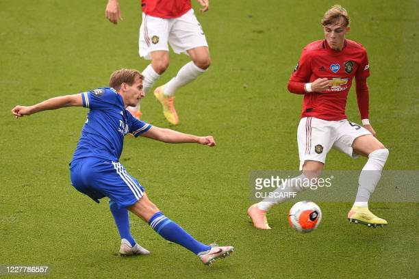 Manchester United's English defender Brandon Williams defends against Leicester City's English midfielder Marc Albrighton during the English Premier...