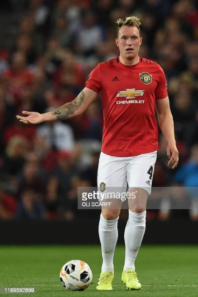 Manchester United's English defender Phil Jones gestures during the UEFA Europa League Group L football match between Manchester United and Astana at...