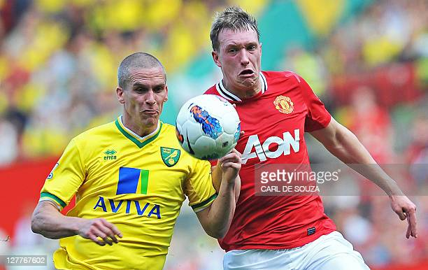 Manchester United's English defender Phil Jones vies with Norwich City's Welsh striker Steve Morison during the English Premier League football match...